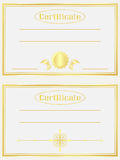 Gold certificate Stock Photos