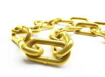 Gold chain. On a white background Stock Photos