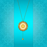 Gold chain. Beautiful blue background with a gold chain stock illustration