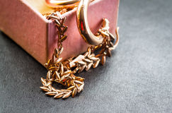 Gold chain in box. Stock Image