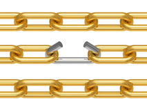 Gold chain with the broken off link Stock Images
