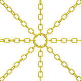 Gold chain chaining center ring isolated Stock Photos