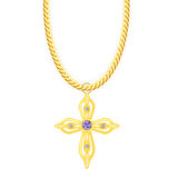 Gold Chain with Cross with Diamond. Vector Royalty Free Stock Images