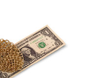 Gold chain and dollar Royalty Free Stock Image