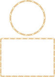 Gold Chain Frames. Illustrated fine gold chain frames can be used as borders for digital photographs or stationery Stock Image