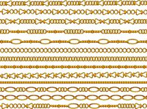 Gold chain. Golden chain set on white background royalty free illustration