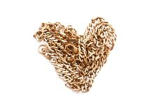 Gold chain heart Stock Photos