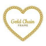 Gold chain heart love border frame. Wreath shape. Jewelry design. stock image
