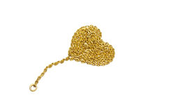 Gold chain with a heart-shaped Stock Photography