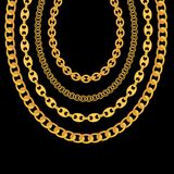 Gold Chain Jewelry on Black Background. Vector Illustration. EPS10 stock illustration