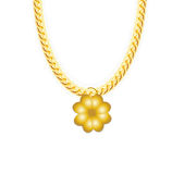 Gold Chain Jewelry whith Four-leaf Clover. Vector Royalty Free Stock Image