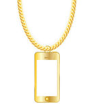 Gold Chain Jewelry whith Gold Mobile Phone. Vector Royalty Free Stock Photo