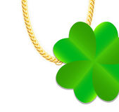 Gold Chain Jewelry whith Green Four-leaf Clover Stock Photography