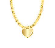 Gold Chain Jewelry Whith Heart. Vector Stock Image