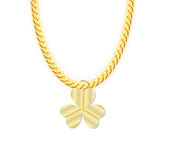 Gold Chain Jewelry whith Three Leaf Clover. Vector Stock Images