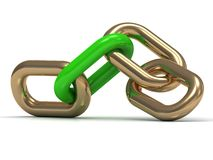 Gold chain link with a green plastic Stock Image