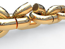 Gold chain link with a torn #2 Royalty Free Stock Image