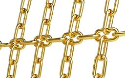 Gold chain links background. Gold chain links on a white background Royalty Free Stock Photos