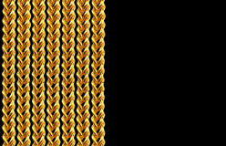 Gold chain necklace isolated on black, closeup , for background Stock Photos