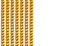 Gold chain necklace isolated on white, closeup , for background. Royalty Free Stock Photography