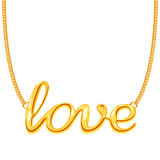 Gold chain necklace with LOVE word pendant vector illustration Stock Images