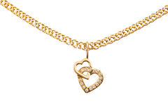 Gold chain and pendant in the shape of heart on a white background stock images