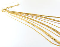Gold chain perspective Royalty Free Stock Image