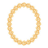 Gold chain, rose - oval frame on a white Royalty Free Stock Image
