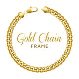 Gold chain round border frame. Wreath circle shape with a lobster lock. royalty free illustration