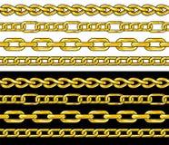 Gold chain. Seamless Borders set. Vector Illustration