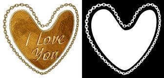 Gold chain in shape of heart on white background with alpha channel. 3D illustration. Gold chain in shape of heart on white background with alpha channel Stock Photos