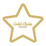 Gold chain star border frame. Wreath starry shape. Jewelry accessories. royalty free illustration