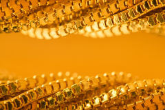 Gold Chain Waves Background, Twisted Golden Frame, Curly Border Stock Photo