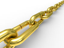 Gold chain on white background. Isolated 3D image royalty free illustration