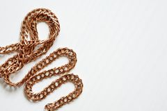 Gold Chain On White Stock Photography