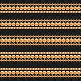 Gold chains and beads horizontal lines seamless pattern on black background. For fashion design. Vector. Illustration stock images
