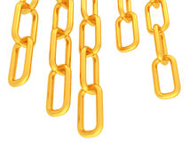 Gold chains isolated on white Royalty Free Stock Photos