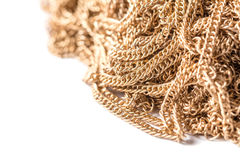 Gold chains isolated on white, texture macro Stock Photos