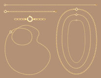 Gold Chains, Necklaces, Bracelet. Vector collection of gold chains, necklaces, bracelets with clasps, with detailed shading on a taupe background. Easy to Royalty Free Stock Photo