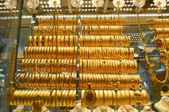 Jewelry store in Grand Bazaar in Istanbul. Gold chains and necklaces in the Grand Bazaar in Istanbul, Turkey royalty free stock image