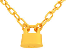 Gold chains and padlock isolation on white background Royalty Free Stock Photography