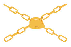Gold chains and padlock on white background Stock Image