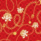 Gold chains red net pattern with bold flowers fashion vector design. Jewelry pendants accessories seamless print with red texture for scarves, fabric and dress royalty free illustration