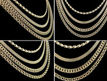 Gold chains set Royalty Free Stock Images