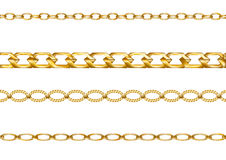 Gold chains. Set of chains isolated on white royalty free illustration