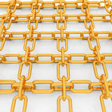 Gold chains on white Stock Photos