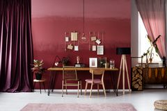 Gold and burgundy workspace interior. Gold chair at desk against burgundy wall in workspace interior with dark cloth and plant Stock Photo