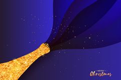 Gold Champagne explosion paper cut style. Origami Celebration layered theme with splashing champagne. Happy holidays royalty free illustration