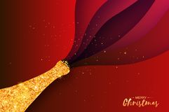 Gold Champagne explosion paper cut style. Origami Celebration layered theme with splashing champagne. Happy holidays vector illustration