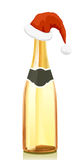 Gold Champagne wine and hat of Santa Claus Stock Images
